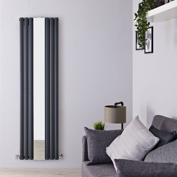 Milano Aruba - Anthracite Vertical Mirrored Designer Radiator 1800mm x 499mm (Double Panel)