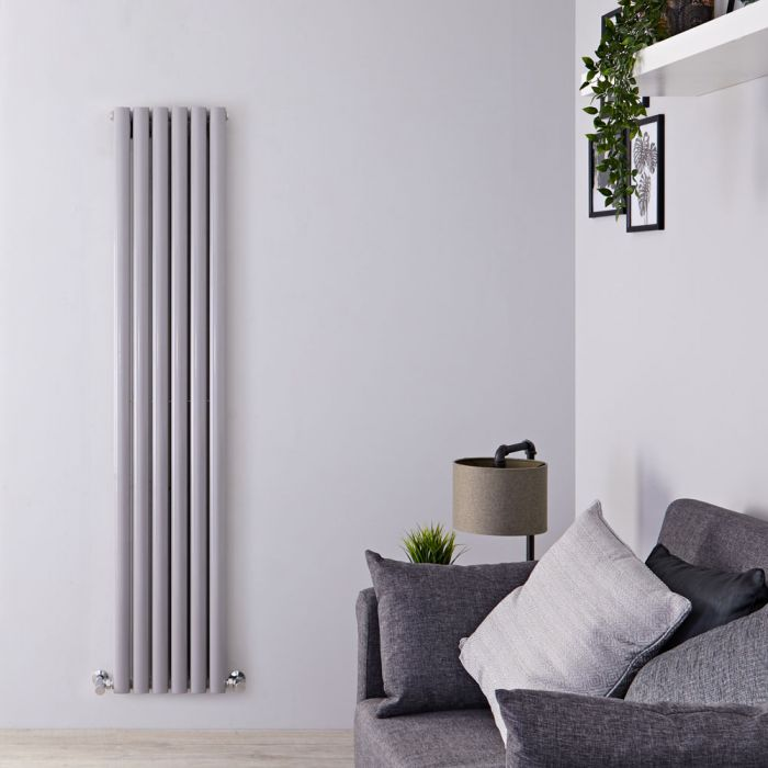 Milano Aruba - Silver Vertical Designer Radiator 1800mm x 354mm (Double Panel)