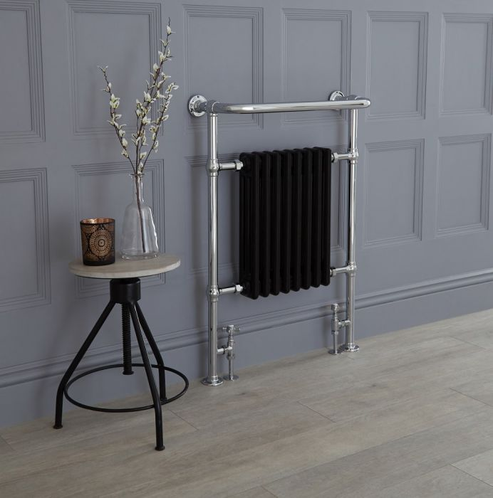 Milano Elizabeth - Black Traditional Heated Towel Rail 960mm x 675mm (With Overhanging Rail)