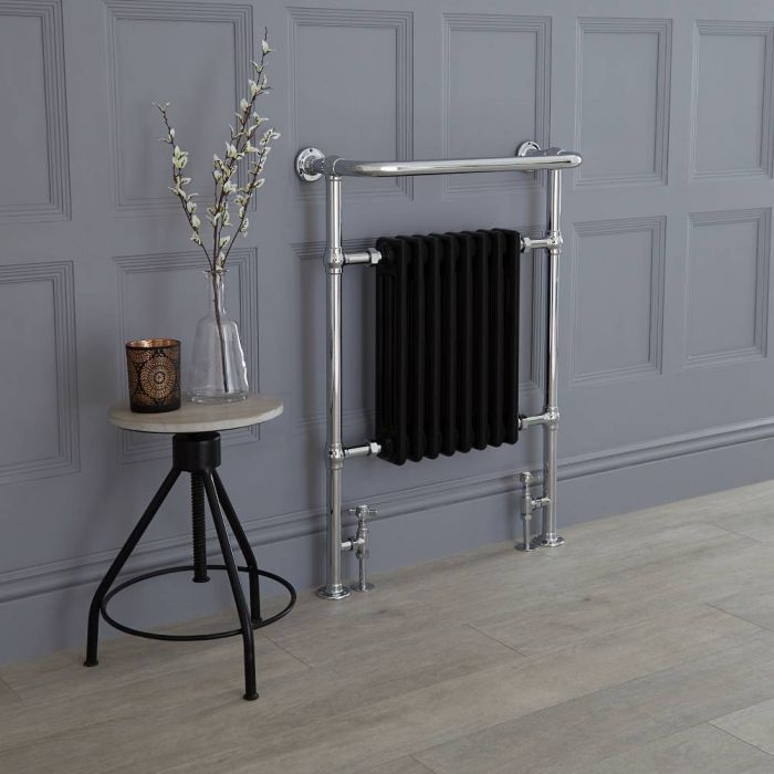 Milano Elizabeth - Black Traditional Heated Towel Rail - 960mm x 675mm (With Overhanging Rail)