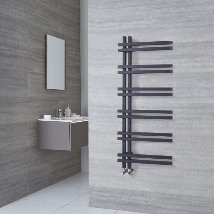 Milano Pars - Anthracite Aluminium Designer Heated Towel Rail 1200mm x 500mm