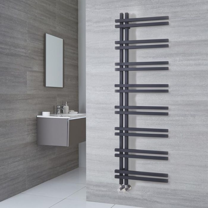 Milano Pars - Anthracite Aluminium Designer Heated Towel Rail 1600mm x 500mm