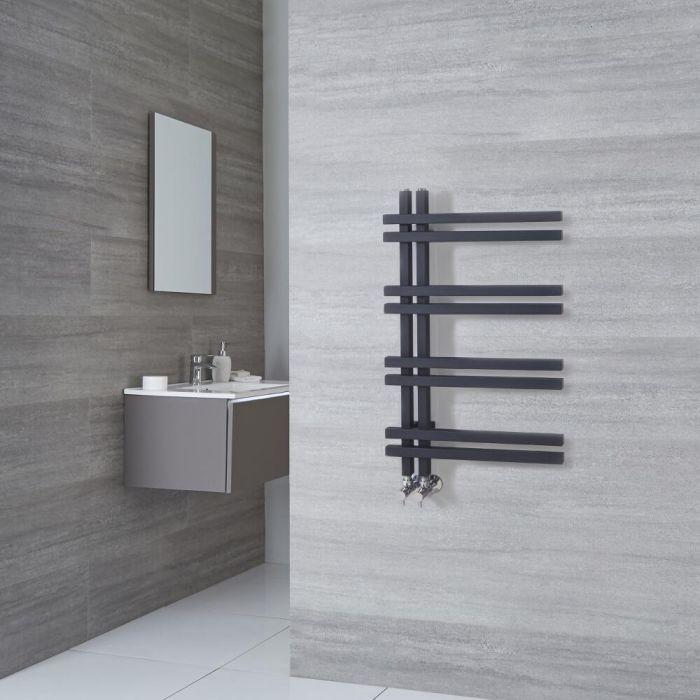 Milano Pars - Anthracite Aluminium Designer Heated Towel Rail 800mm x 500mm