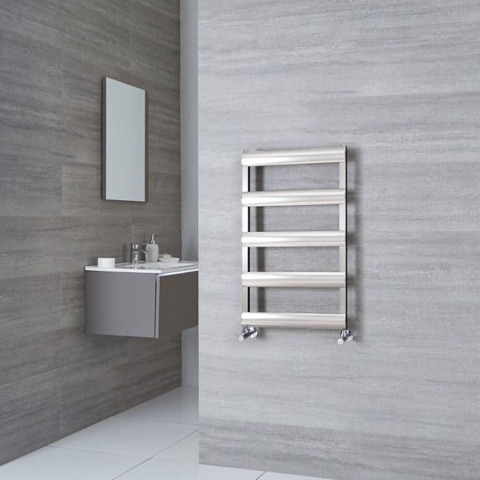 Milano Passo - Brushed Chrome Aluminium Designer Towel Rail 790mm x 500mm
