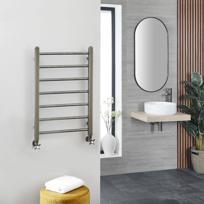 Milano Esk - Brushed Brass Stainless Steel Flat Heated Towel Rail - 800mm x 500mm