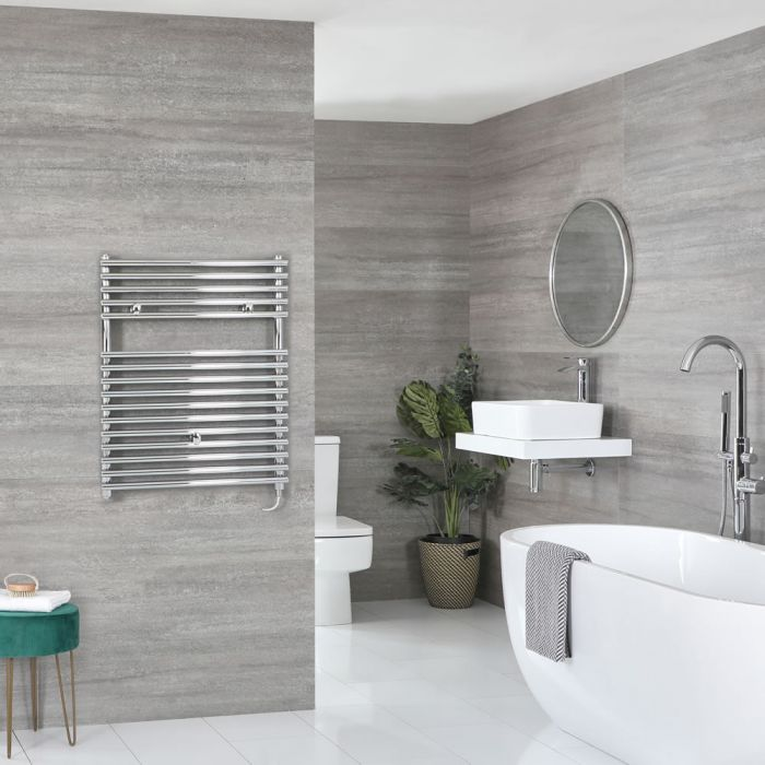 Milano Arno Electric - Chrome Bar on Bar Heated Towel Rail 730mm x 450mm
