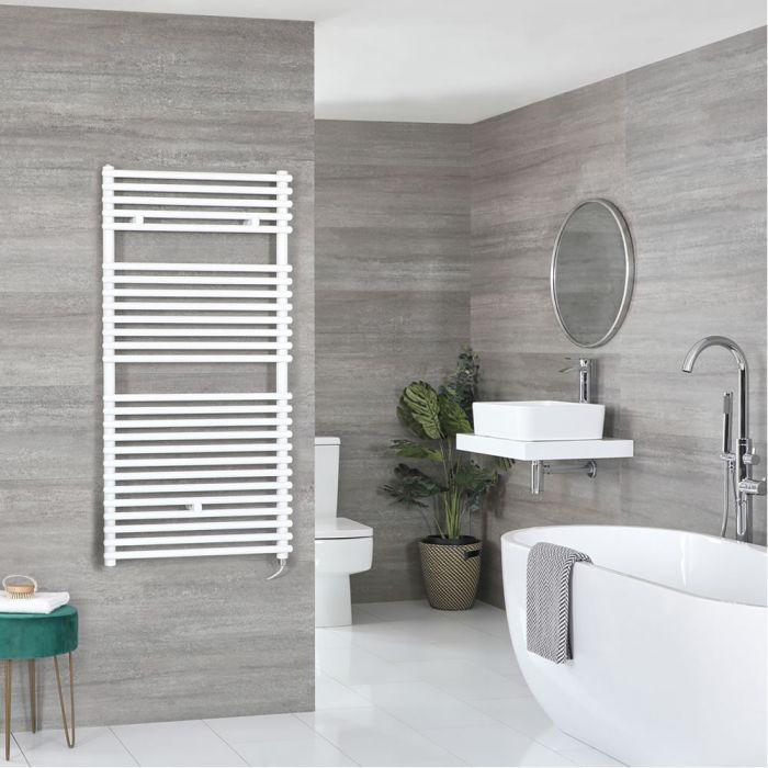 Milano Arno Electric - White Bar on Bar Heated Towel Rail 1190mm x 450mm