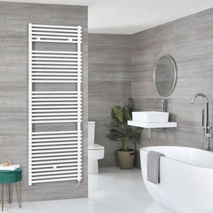 Milano Arno Electric - White Bar on Bar Heated Towel Rail - Various Sizes