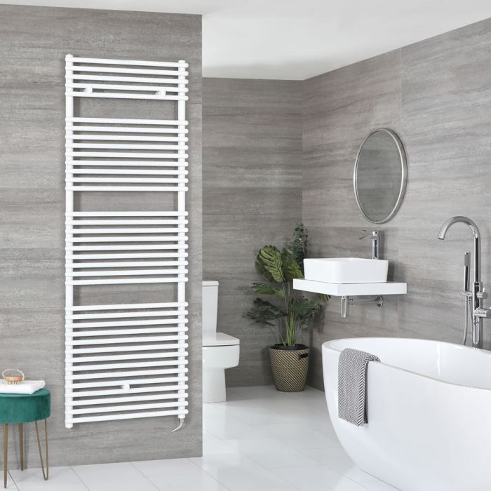 Milano Arno Electric - White Bar on Bar Heated Towel Rail 1738mm x 600mm