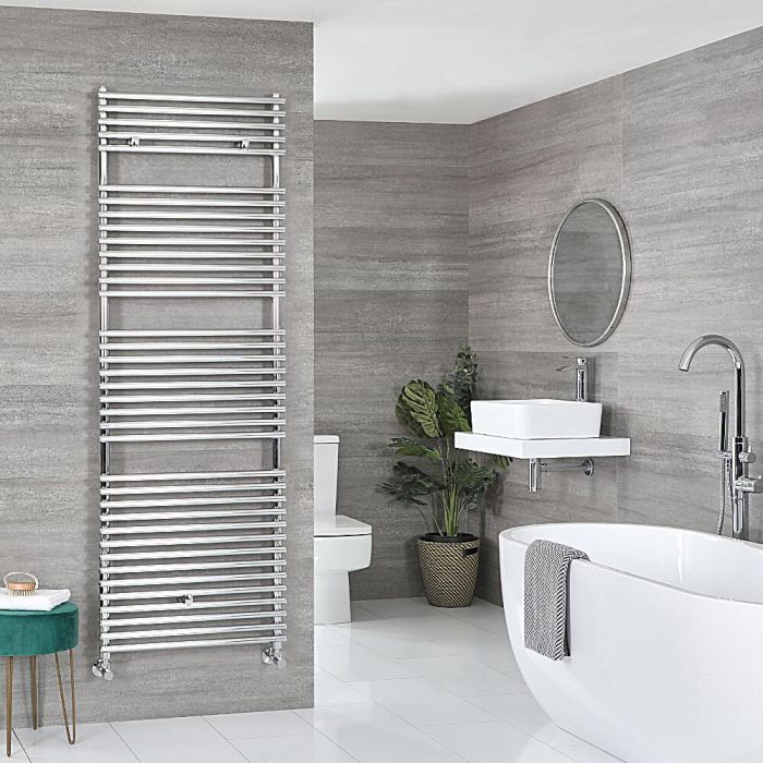 Milano Arno - Chrome Bar on Bar Heated Towel Rail - Various Sizes