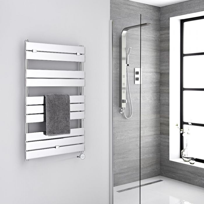 Milano Electric Lustro - Designer Chrome Flat Panel Heated Towel Rail - 1000mm x 600mm