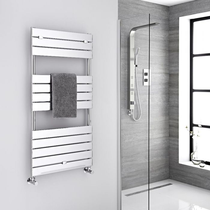 Milano Lustro - Designer Chrome Flat Panel Heated Towel Rail - 1213mm x 600mm