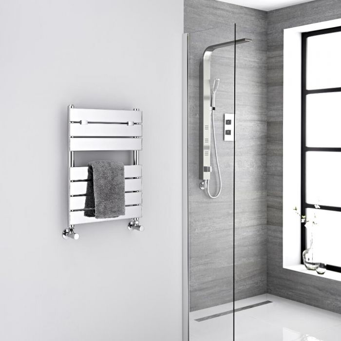 Milano Lustro - Designer Chrome Flat Panel Heated Towel Rail - 620mm x 455mm