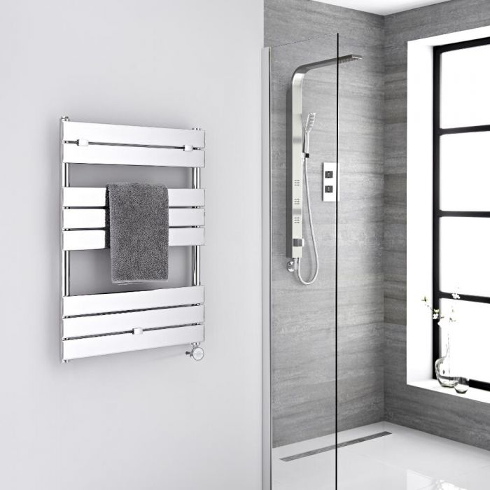 Milano Electric Lustro - Designer Chrome Flat Panel Heated Towel Rail - 840mm x 600mm