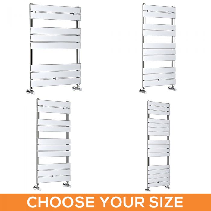 Milano Lustro - Designer Chrome Flat Panel Heated Towel Rail - Various Sizes
