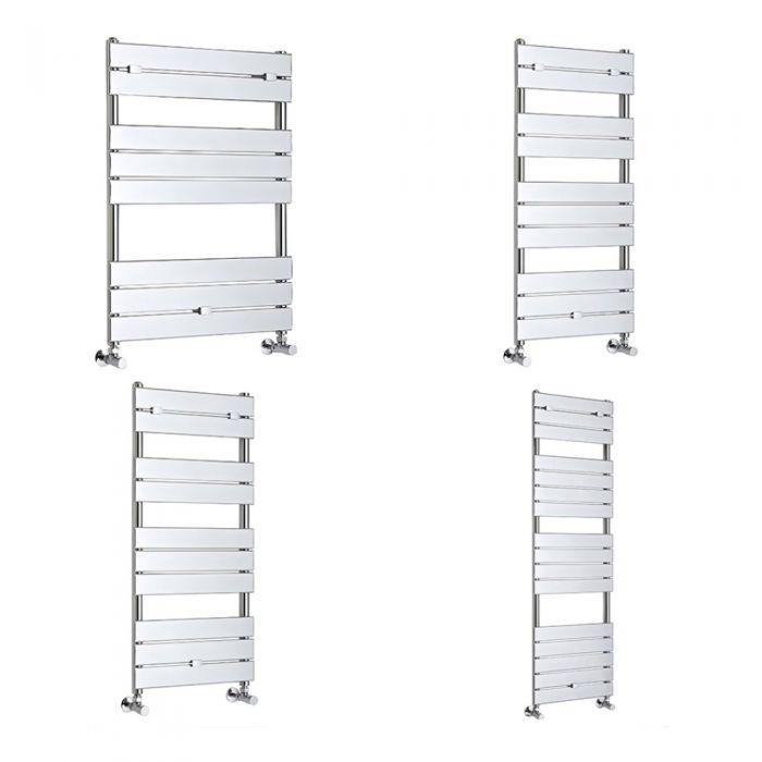 Milano Lustro - Designer Chrome Flat Panel Heated Towel Rail - Various Sizes