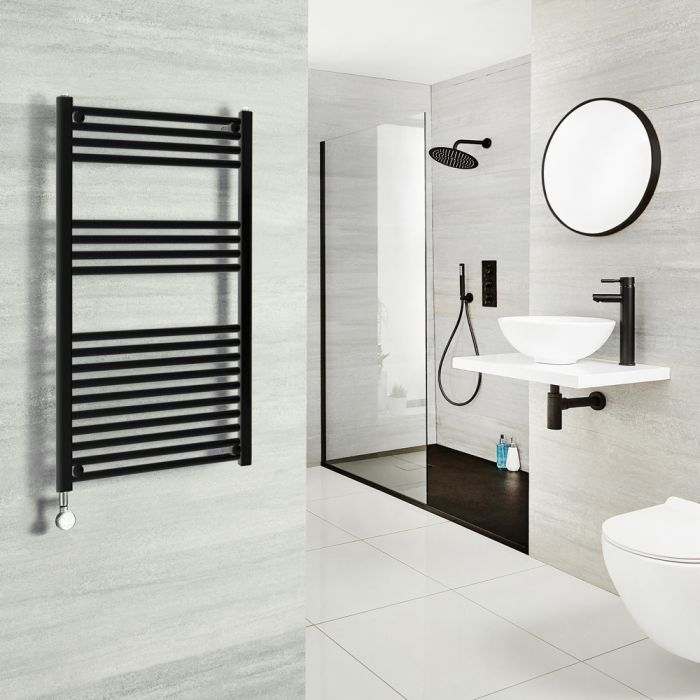 Milano Nero Electric - Black Heated Towel Rail - Various Sizes