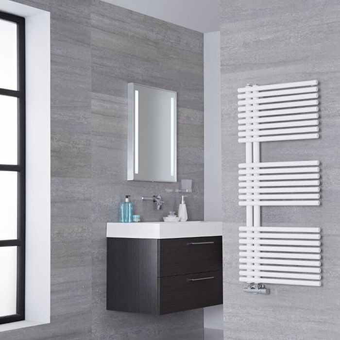 Lazzarini Way - Bari - Mineral White Designer Heated Towel Rail - 1120mm x 500mm