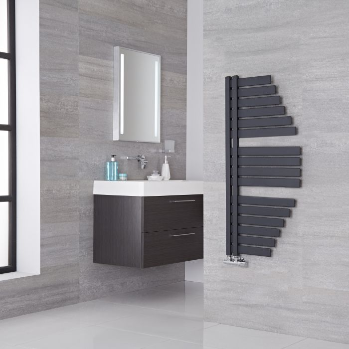 Lazzarini Way - Spinnaker - Anthracite Designer Heated Towel Rail - 1100mm x 483mm