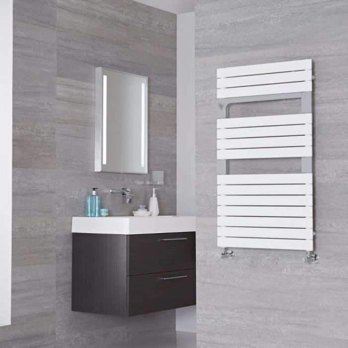 Lazzarini Way - Torino - Mineral White Designer Heated Towel Rail - 952mm x 550mm