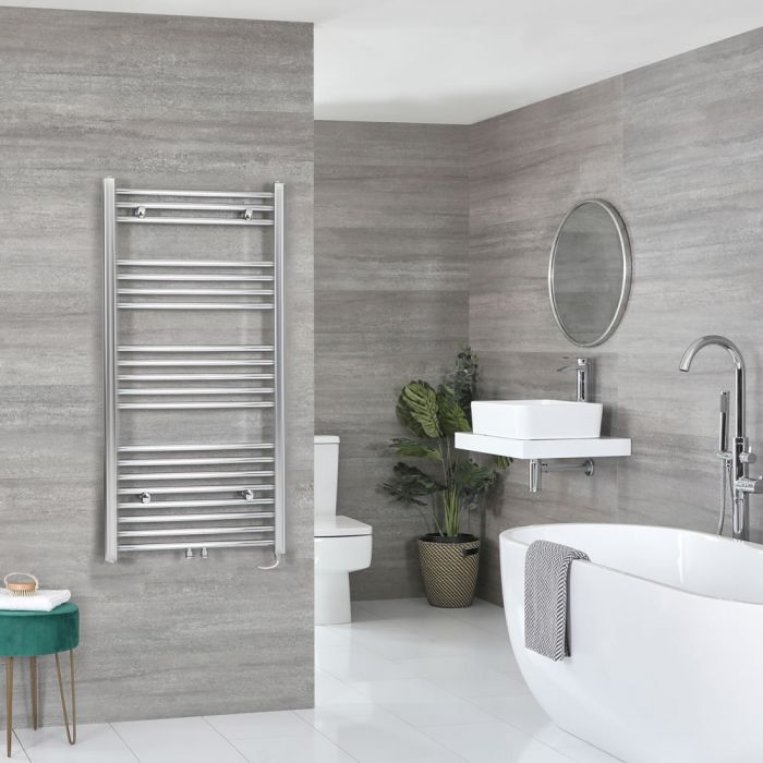 Milano Neva Electric - Chrome Heated Towel Rail 1188mm x 500mm