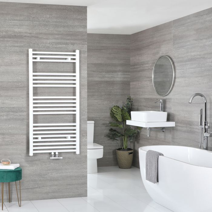 Milano Neva - White Central Connection Heated Towel Rail 1188mm x 500mm