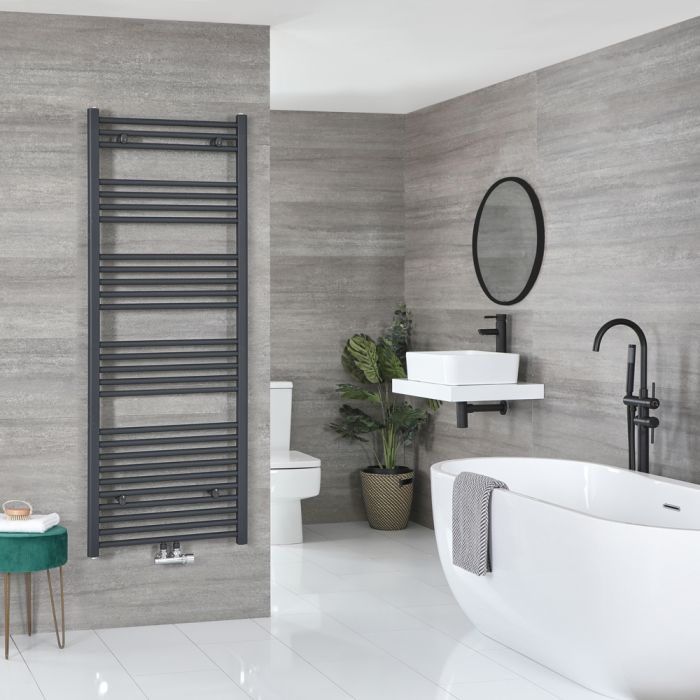 Milano Neva - Anthracite Central Connection Heated Towel Rail 1600mm x 500mm