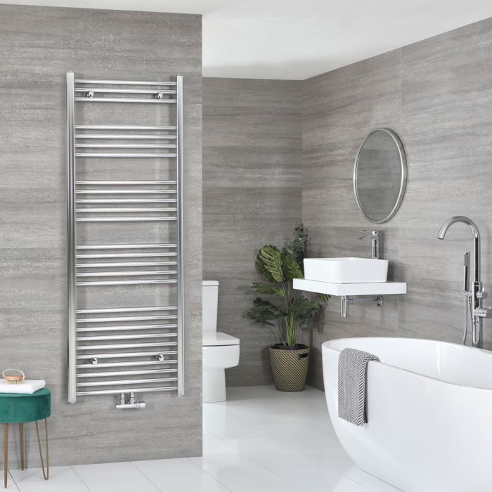 Milano Neva - Chrome Central Connection Heated Towel Rail 1600mm x 500mm