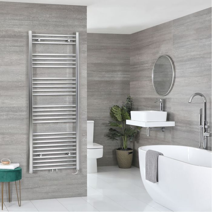 Milano Neva Electric - Chrome Heated Towel Rail 1600mm x 500mm