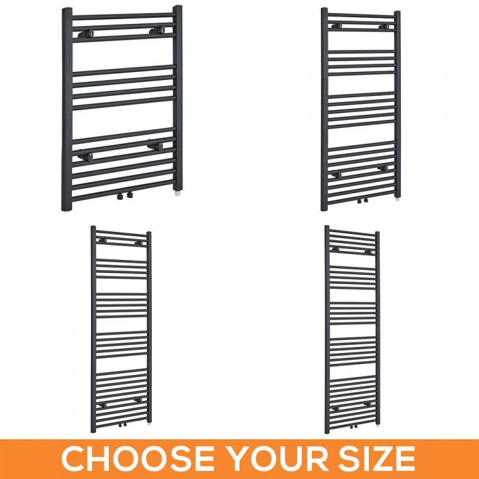 Milano Neva Electric - Anthracite Heated Towel Rail - Various Sizes