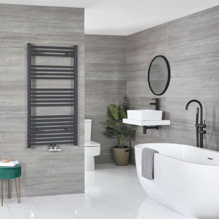 Milano Neva - Anthracite Central Connection Heated Towel Rail 1188mm x 600mm
