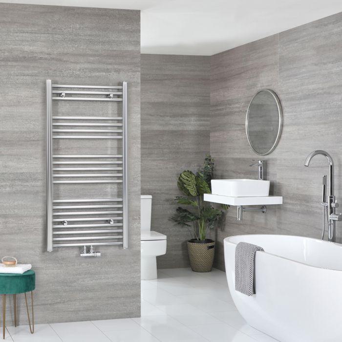 Milano Neva - Chrome Central Connection Heated Towel Rail 1188mm x 600mm