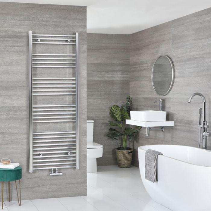 Milano Neva - Chrome Central Connection Heated Towel Rail 1600mm x 600mm