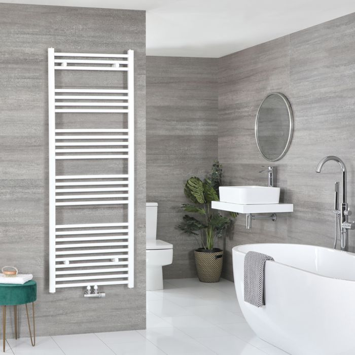 Milano Neva - White Central Connection Heated Towel Rail 1600mm x 600mm