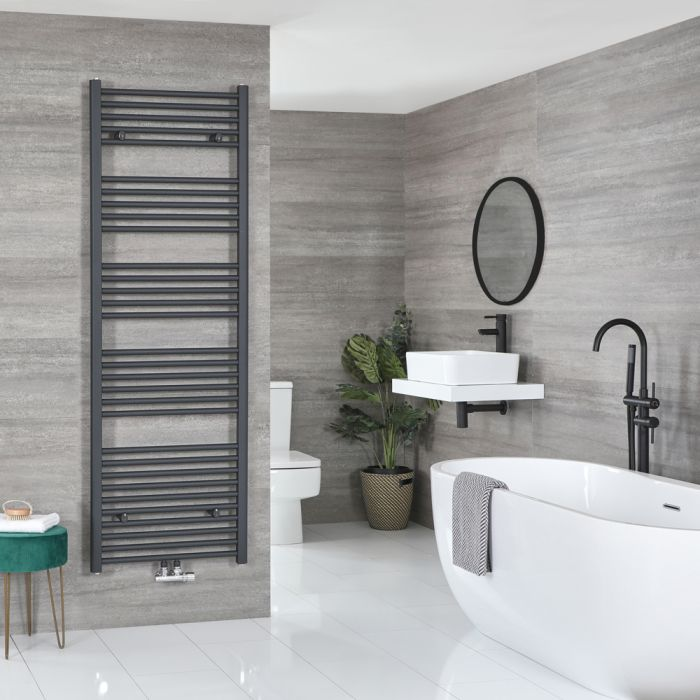 Milano Neva - Anthracite Central Connection Heated Towel Rail 1785mm x 600mm