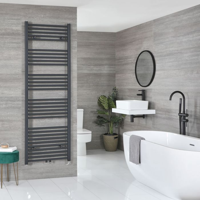 Milano Neva Electric - Anthracite Heated Towel Rail 1785mm x 600mm