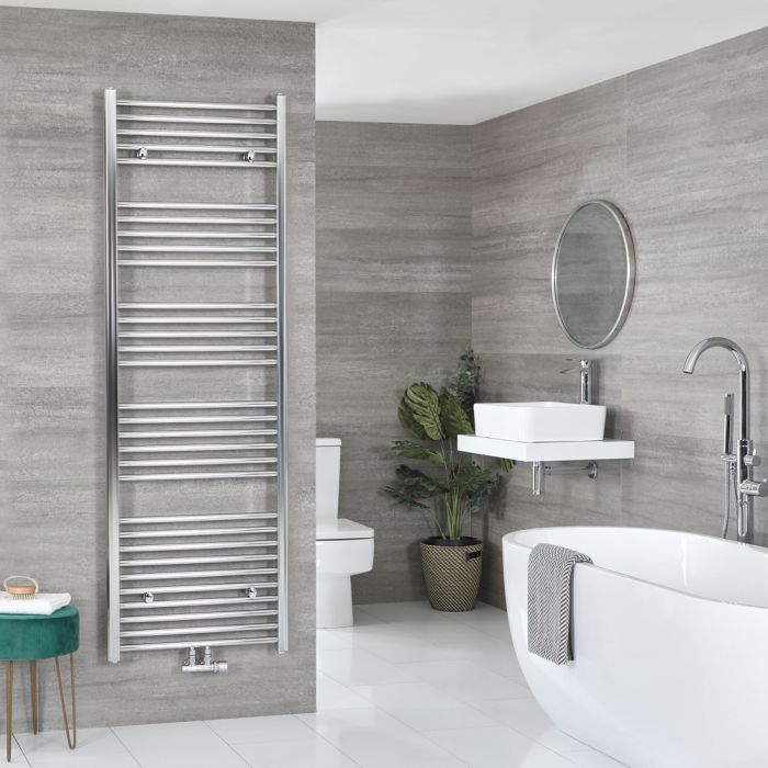 Milano Neva - Chrome Central Connection Heated Towel Rail 1785mm x 600mm