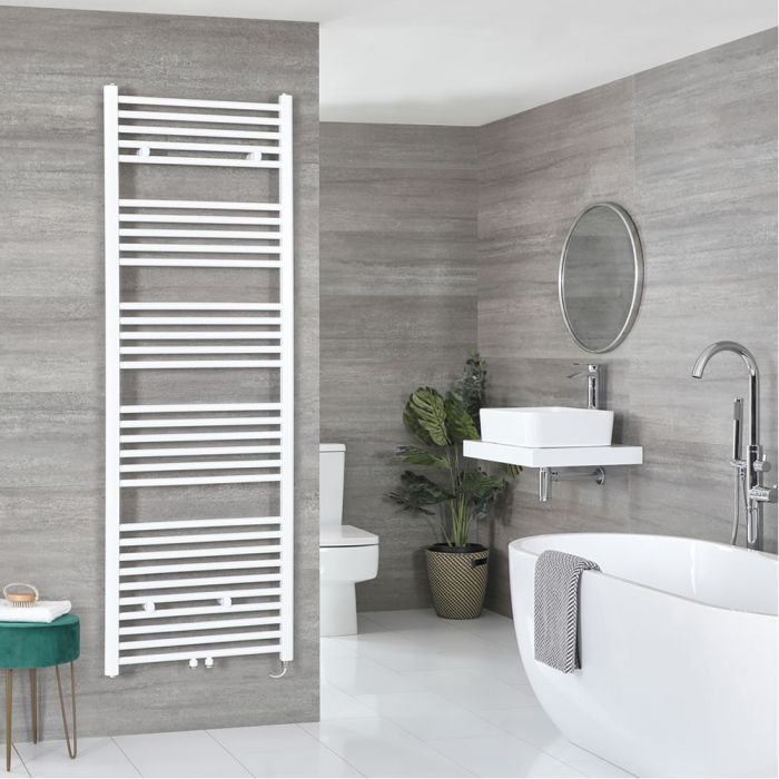 Milano Neva Electric - White Heated Towel Rail 1785mm x 600mm