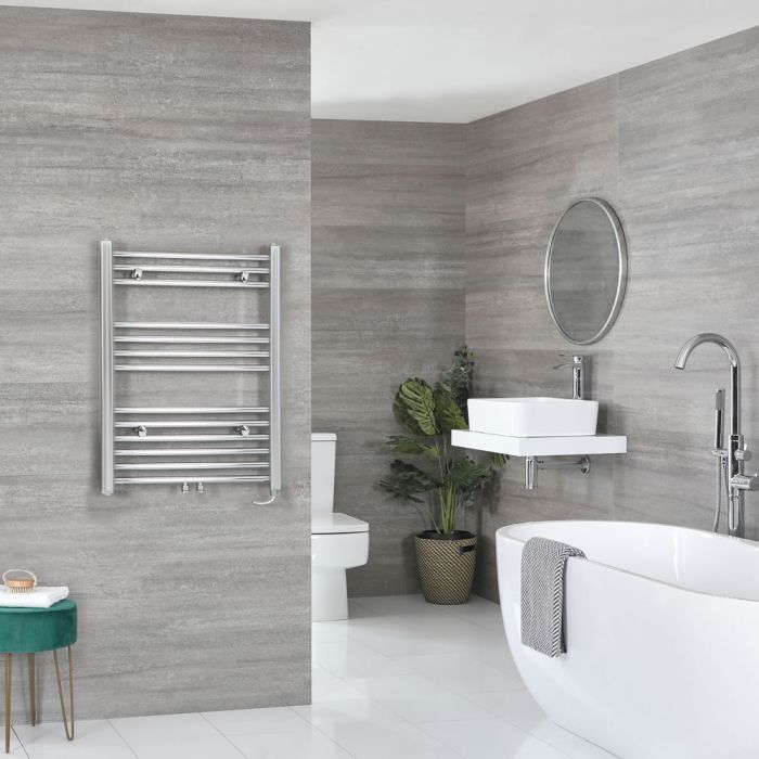 Milano Neva Electric - Chrome Heated Towel Rail 803mm x 600mm