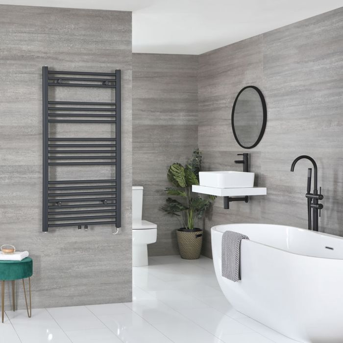 Milano Neva Electric - Anthracite Heated Towel Rail 1188mm x 600mm