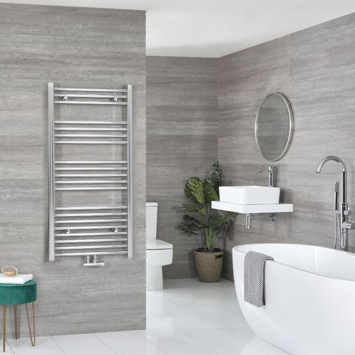 Milano Neva - Chrome Central Connection Heated Towel Rail - Various Sizes