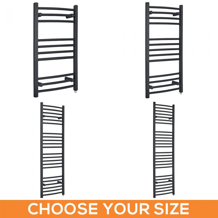 Milano Artle Electric - Curved Anthracite Heated Towel Rail - Various Sizes