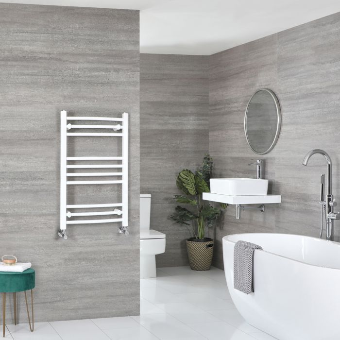 Milano Ive - Curved White Heated Towel Rail 800mm x 500mm