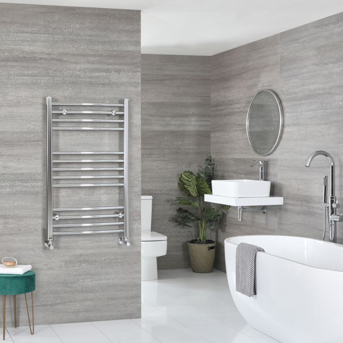 Milano Kent - Curved Chrome Heated Towel Rail 1000mm x 500mm