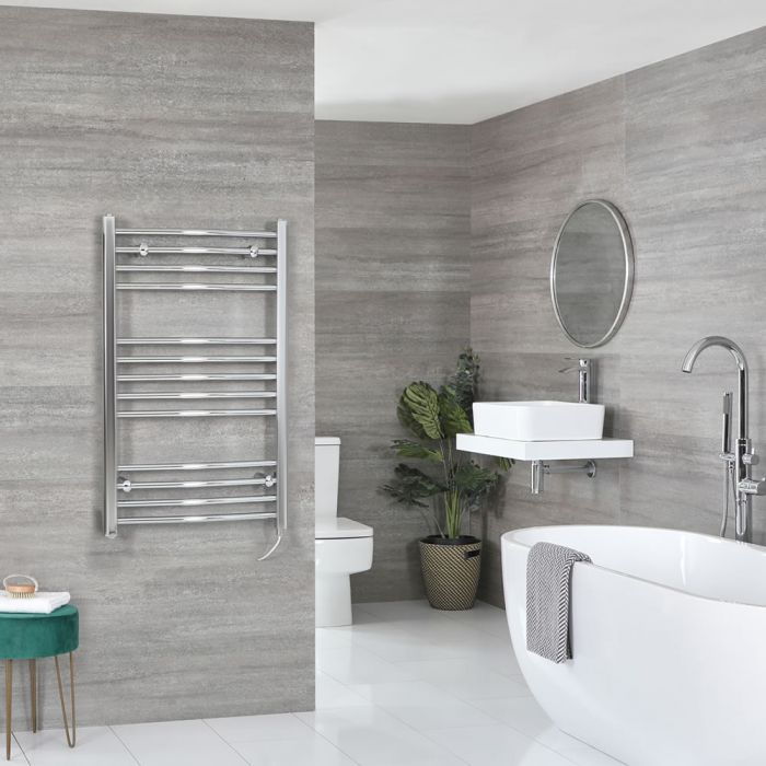 Milano Kent Electric - Curved Chrome Heated Towel Rail 1000mm x 500mm