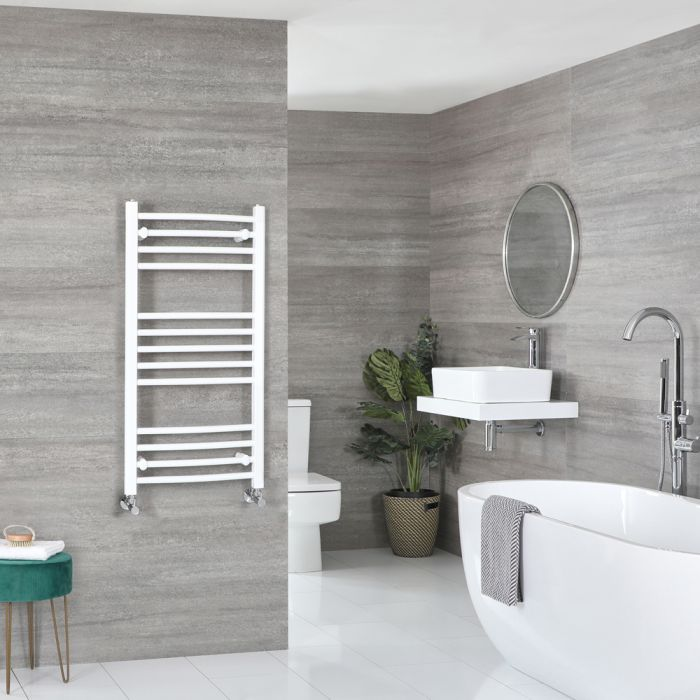 Milano Ive - Curved White Heated Towel Rail 1000mm x 500mm