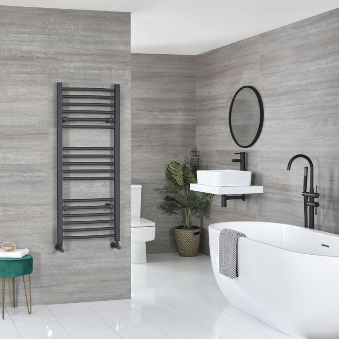 Milano Artle - Curved Anthracite Heated Towel Rail 1200mm x 500mm