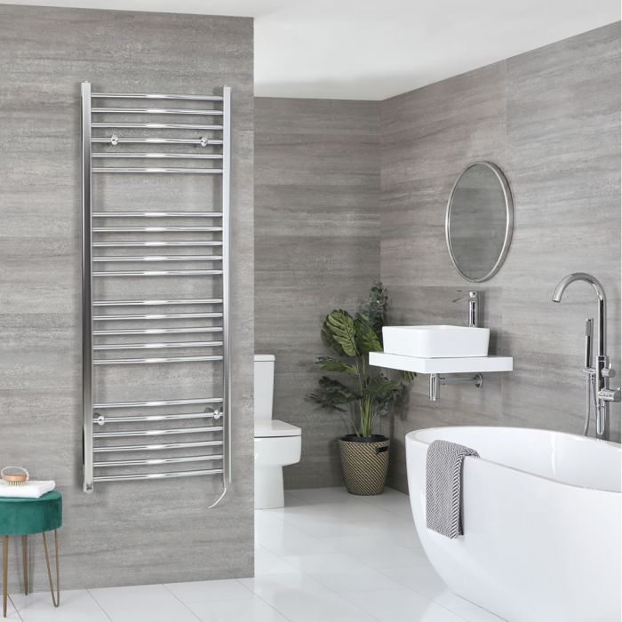 Milano Kent Electric - Curved Chrome Heated Towel Rail 1600mm x 500mm