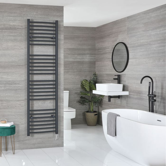 Milano Artle Electric - Curved Anthracite Heated Towel Rail 1800mm x 500mm
