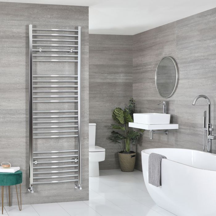 Milano Kent - Curved Chrome Heated Towel Rail 1800mm x 500mm